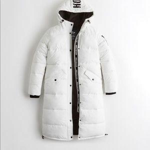 Hollister long puffer jacket bright white